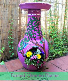 Painted Chiminea Planter by Crafty Chica, Kathy Cano-Murillo #RadiantOrchid