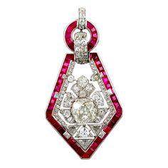 CARTIER Art Deco Diamond Ruby Pendant