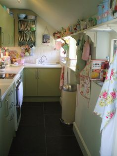 cute, small green kitchen