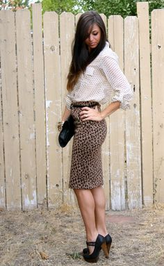 cute office outfit from xoxo cleverly, yours... offic outfit, the office, pattern outfit, office outfits, leopard, offic skirt