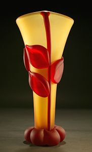 Tommie Rush, yellow-and-red art-glass vase