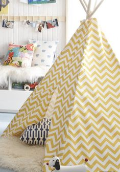 Child Toddler Kid's Play Teepee/Tent Hideaway in Zig Zag Chevron Ash Corn Yellow White - poles sold separately - put a sheepskin from ikea down inside