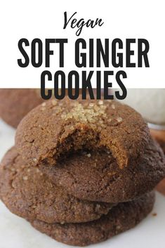 If you have been on the hunt for a soft, warm ginger cookie recipe that is easy, delicious and 100% plant based, this is the cookie for you. #vegan #ginger #cookies #baking #christmas #holidays #plantbased