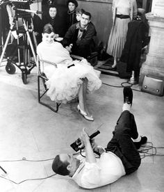 Audrey Hepburn and Fred Astaire on the set of Funny Face, photographed by Richard Avedon, 1957