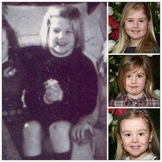 Maxima as a child and top to bottom, Princesses Catharina-Amelia, Alexia, Ariane