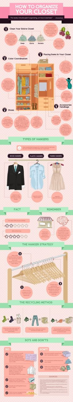 A helpful infographic with tips to organize your closet. #organization #closet #infographic #clothes #storage