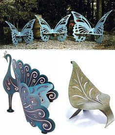 Color, design, function. perfect. outdoor seating, butterfli, garden chairs, yard, magical garden, unusual furniture, garden benches, garden furniture, outdoor gardens