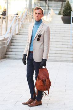 Cachemire sweater  Tailor made jacket  Epos shades  59 Bond Street shoes  leather backpack