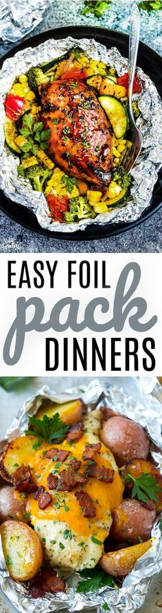 These foil pack dinners are an  easy and convenient way to cook while camping. Or make them for on the grill or  in the oven at home. Less cleanup and yummy flavors! #recipes #easyrecipes  #funrecipes #deliciousrecipes #recipeideas #easyrecipeideas #yummyrecipes