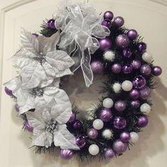 {Xmas Wreaths} Purple & Silver Christmas Wreath #Christmas #Xmas #wreath holiday, christmas wreaths, silver christmas, product design, purple christmas, christmas decorations, christma decor, white christmas, purpl christma