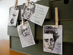 Fabulous art prints! Set of four pocket philosophy portraits - Marx, Kierkegaard, Nietzsche, and Kant. $35.00, via Etsy.