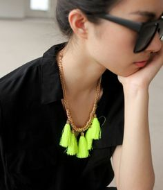 Neon Tassel Fashion Necklace   LilyFair Jewelry, $19.99!