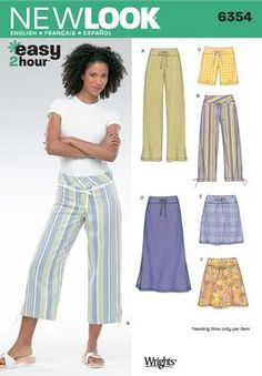 Womens Pants, Shorts, Skirts Sewing Pattern 6354 New Look
