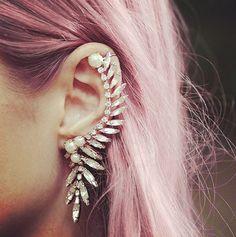 ear cuff // pink hair