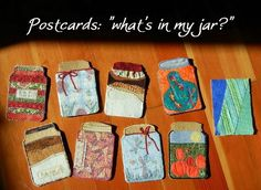 I have to try making fabric postcards like these.