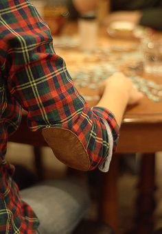 plaid with leather elbow patches