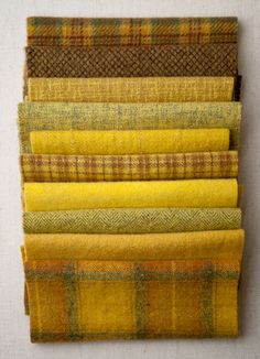 Mini Textured Wool Felt Bundles in yellow