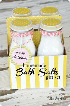 homemad bath, homemade bath salts recipe, gift ideas, idea room, diy gift, essential oils, gifts, bathsalts, soap