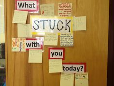 Great way to check comprehension at the end of the day. They have to share something that has stuck with them from today's lesson and write it down. Great exit slip idea!