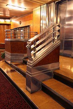 Art Deco Elevator Landing, RMS Queen Mary...ultimate Deco.