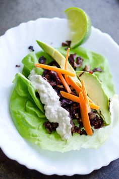 Hibiscus and Red Walnut Lettuce Wraps with Cashew Lime Sour Cream (delicious meat alternative, vegan, dairy free, gluten free)