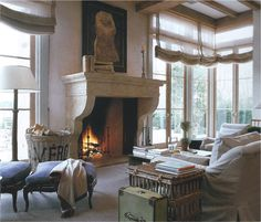John Saladino. Love the fireplace