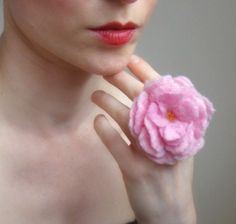 pink rose hand felted ring
