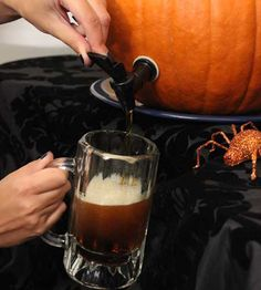 """DIY Pumpkin Keg Celebrations... I am thinking take a box of wine and remove the box. Also to avoid any pumpkin """"goop"""" that may be left over after you have hollowed out the pumpkin =)"""