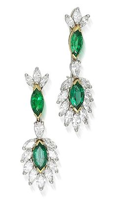 A pair of emerald and diamond pendant earrings, Oscar Heyman & Brothers, 1989  each designed as a marquise-shaped emerald within a surround of marquise-shaped diamonds suspended from a pear-shaped diamond, marquise-shaped emerald and marquise-shaped diamond triple-stone surmount; with maker's mark HB for Oscar Heyman & Brothers, no. 703244; estimated total emerald weight: 4.15 carats; estimated total diamond weight: 4.65 carats; mounted in platinum and eighteen karat gold; length: 1 3/4in.