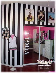 mirror, teen girl rooms, bedroom decorating ideas, black white, wall posters, girl bedrooms, striped walls, closet, teen girls