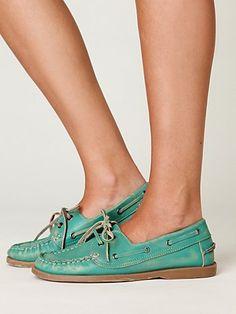 Teal boatshoes