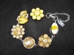 Lemon Leaves - recycled stories in an earring bracelet! Bridesmaid Gift Vintage Earring Bracelet by JenniferJonesJewelry, $37.50