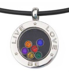 Live Love Be - Rainbow Circular Glass Pendant - Gay & Lesbian LGBT Pride Necklace