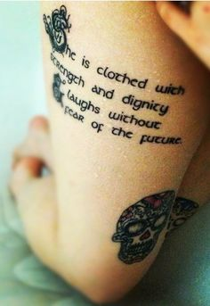 tattoo ideas, the script, thigh tattoos, font, quote tattoos, tattoo quotes, a tattoo, proverbs 31, inspiring bible verses