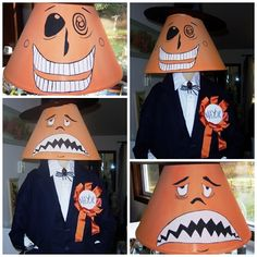 Nightmare before Christmas mayor costume made with a lampshade. Needs to be fixed up but could even be a cute decoration as a lamp.