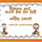 This packet includes a fall literacy packet and math packet combined! With 13 Literacy Centers, and 4 Math Centers Harvest Theme: (Can use throu...