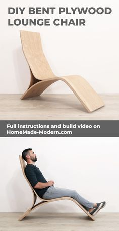 This modern lounge chair can be made with a few basic power tools and a few sheets of plywood.