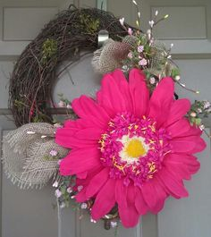 Hot pink spring berry #wreath with a little #burlap  www.facebook.com/wreathswithareason
