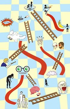 Chutes and Ladders - Autobiographical Map, Nataly McBride, digital Art, c. fall 2010; snake s and ladders, game, games, board game, boardgame, play, illustration, graphics, graphic design, art, drawing, sketches