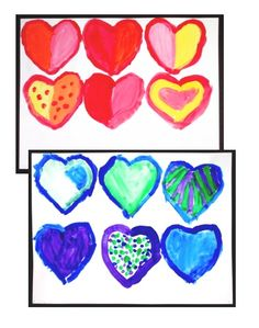 Pop Art Hearts - Warm and Cool Colors Art Lesson - inspired by Wayne Thiebaud and Jim Dine