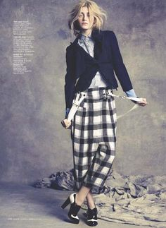 plaid pants. cropped blazer.