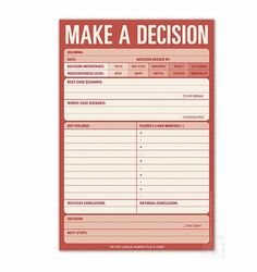 Lack of making decisions impacts the ability to get & stay organized. Here's a tool to make some of the bigger decisions easier: Make A Decision Classic Pad