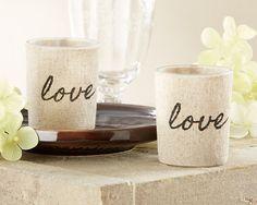 """""""Love"""" Linen-Covered Glass Votive Holder (Set of 4)"""