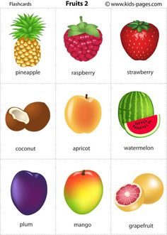 Kids Pages - Fruits 2 - free flashcards - pdf - 2 sizes - free