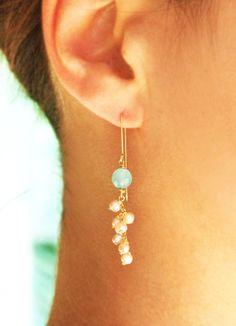 Gold earrings, 14k gold filled, long earrings, pearl earrings, aqua chalcedony earrings, wedding, bridal earings, bridesmaid earrings on Etsy, $43.12 CAD