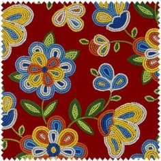 Beaded Native Flowers-Red