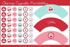 Free Cherry Cupcake Printables