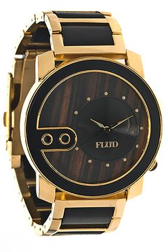 Flud Watches The Exchange Wood Watch in Gold Oak