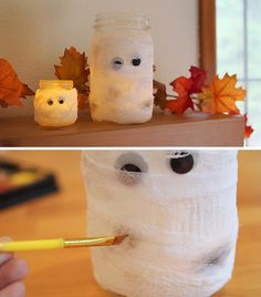 These spooky mummy mason jar luminaries were super easy to make - great project for the kids!