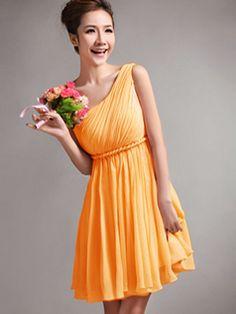 $82.17 A-Line One Shoulder Draped Short Orange #Cheap #Bridesmaid #Dresses